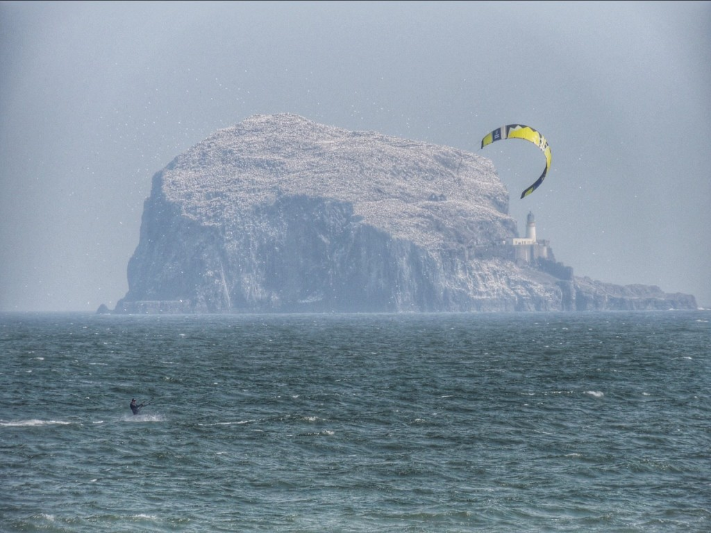 Kite surfing at North Berwick, with Bass Rock in the background