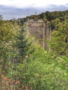 Neidpath Castle as spied from the A72